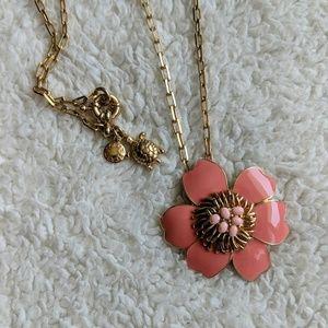 J Crew Coral Flower Statement Necklace